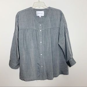 Amour Vert Grey Button Down Blouse Size XS